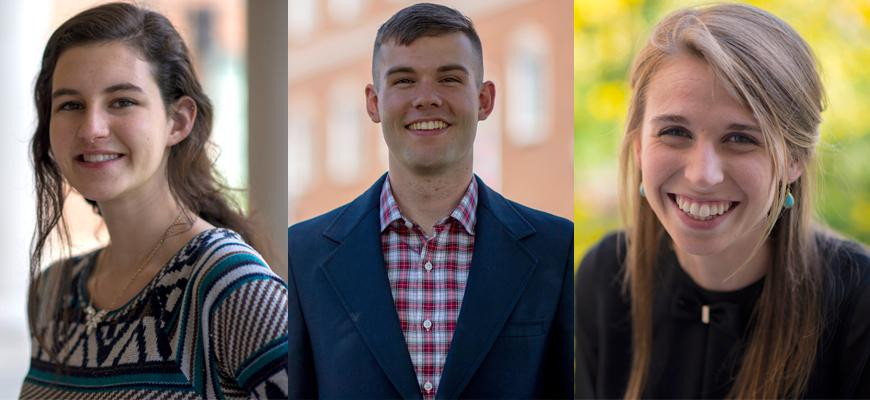 Ellen Linder and Brandon Pruitt are members of the Chinese Flagship Program and will use the Boren Scholarship to complete their Capstone Year in China. Hannah Chaney will study in CET's Intensive Language Summer Program in Jordan.
