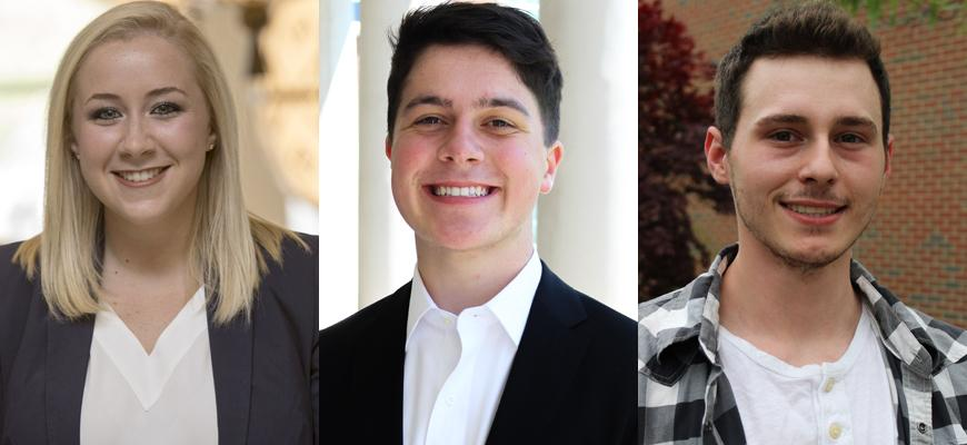 Kate Hart of Princeton, Nathan Read of Belleveville, Illinios and Tristan Shaw of Glasgow will use Boren Scholarships to fund their Chinese Flagship capstone year in China. Michael Dimeo of Bowling Green was selected as an alternate.