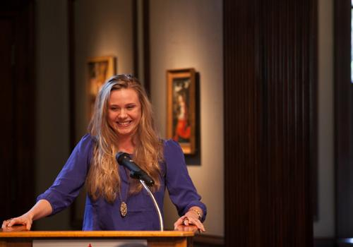Sara Mearns, principal dancer for the New York City Ballet, was guest speaker at the opening of the IAE exhibit. Mearns' pointe shoes are an important part of the exhibit.