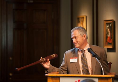 Rick Redman from the Hillerich & Bradsby Co, presented custom Instruments of American Excellence bats from the Louisville Slugger factory.