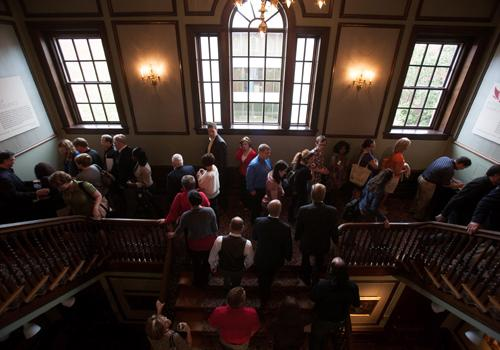 A large crowd in the Kentucky Building ascended the grand staircase that leads to the IAE exhibit on the third floor.