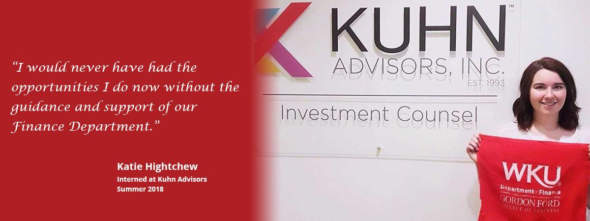 Katie interned at KUHN Advisors in the summer of 2018.