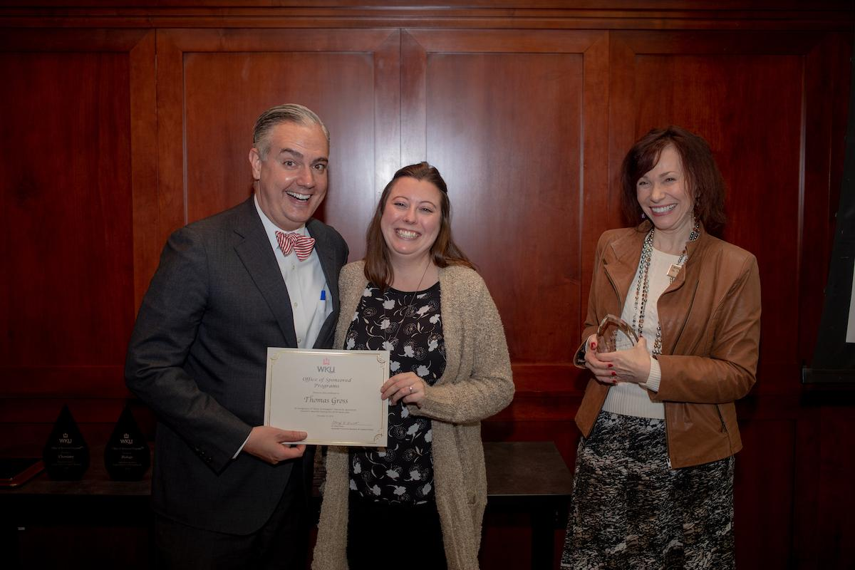 Dr. Jenni Redifer accepted the First Time Lead Award on behalf of Dr. Thomas Gross