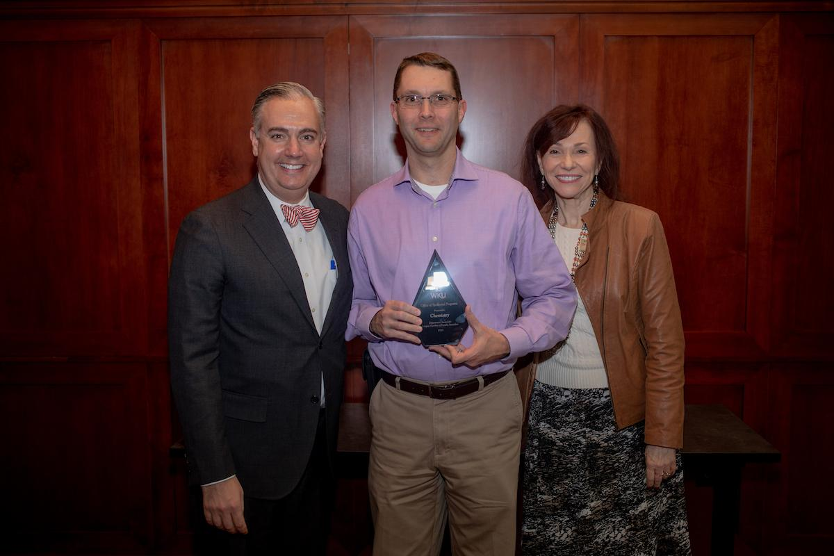 Department with the most faculty awardees was awarded to the Chemistry Department and accepted by Dr. Kevin Williams