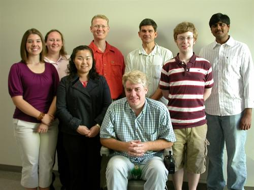 From left to right: Kaitlyn Hartley, Amanda Webb, Chia-Hui Lin, Michael Smith, Patrick Stewart, Todd Penberthy, Reagan Gilley, Sri Kiran Botta