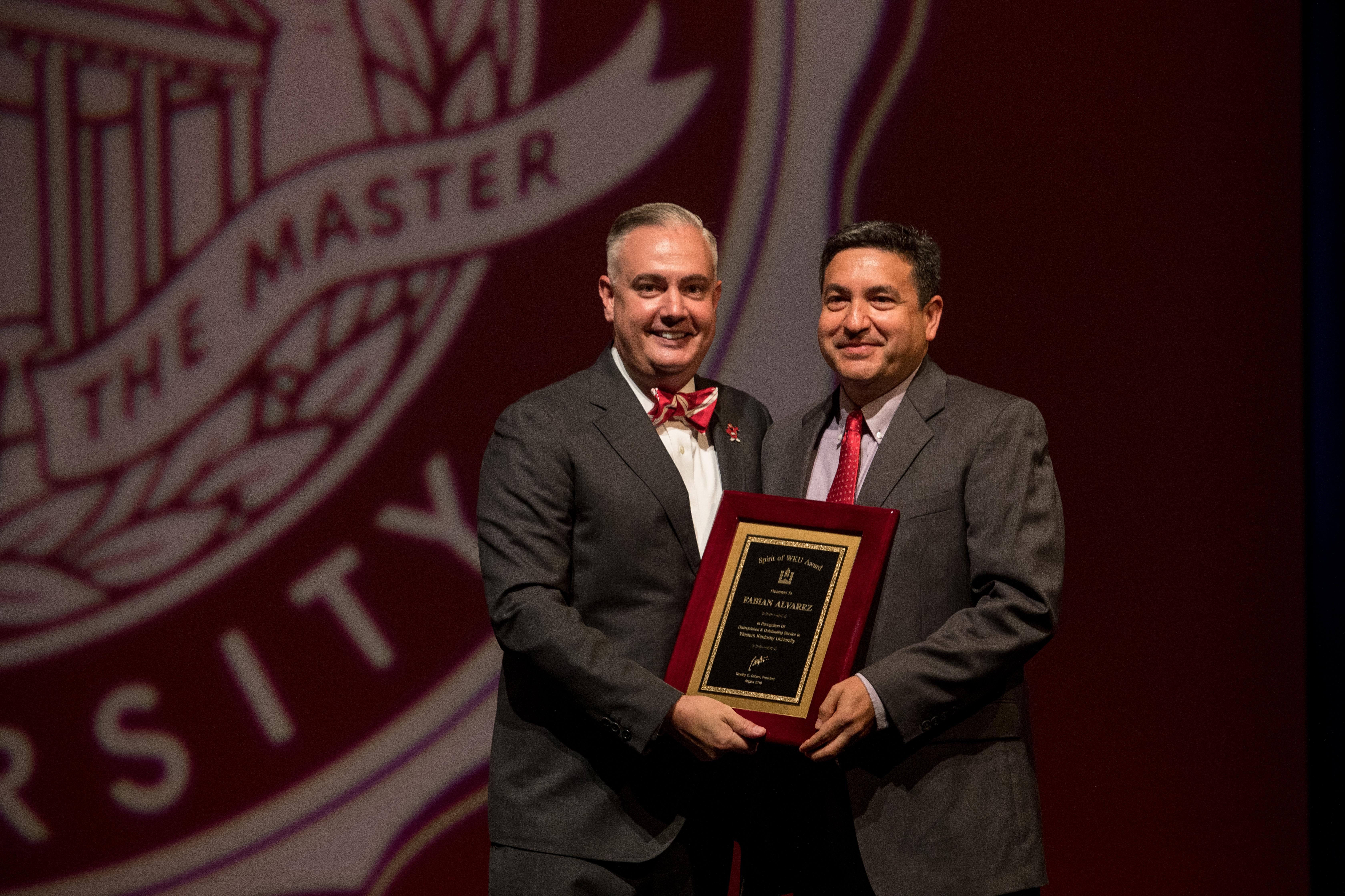 The Spirit of WKU was awarded to Fabian Alvarez.