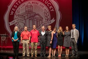 The following award winners were recognized at Convocation (pictured left to right): Alicia Pesterfield, Josiah Super, Adam Blessinger, Holli Drummond, Carol Jordan, Rachel Tinius, Melanie Autin, and Bruce Schulte