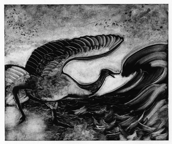 Julie Schuck, Natural mind is the Way, Monotype, oil-based ink on paper