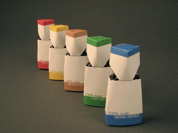 Kat Scanga, Extract Package, card stock, digital print, bottles of extract