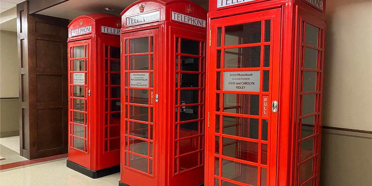 With England (and Harlaxton College in particular) being a large part of our education abroad culture, the HCIC would not be complete without a few phone booths from Great Britain. (Don't worry, these boots are actually equipped with computers to Skype/Zoom and not telelphones.)