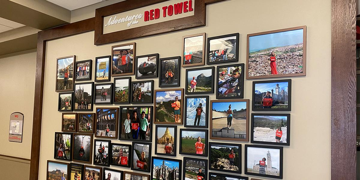 Stop by this wall to see just some of the places our scholars have traveled (with a picture of their WKU red towel, of course!).