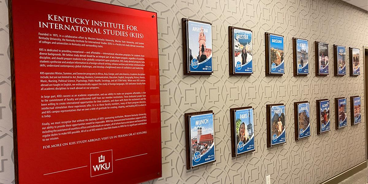 Stop by this wall to see some of the education abroad opportunities.