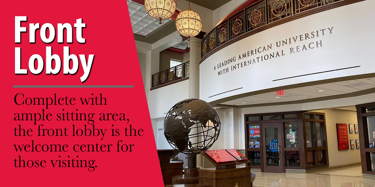 Complete with ample sitting area, the front lobby is the welcome area for those visiting.