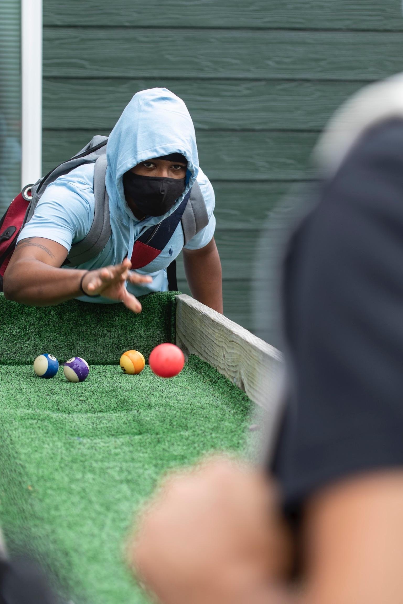 Troy Davis enjoying games during Navigator training.