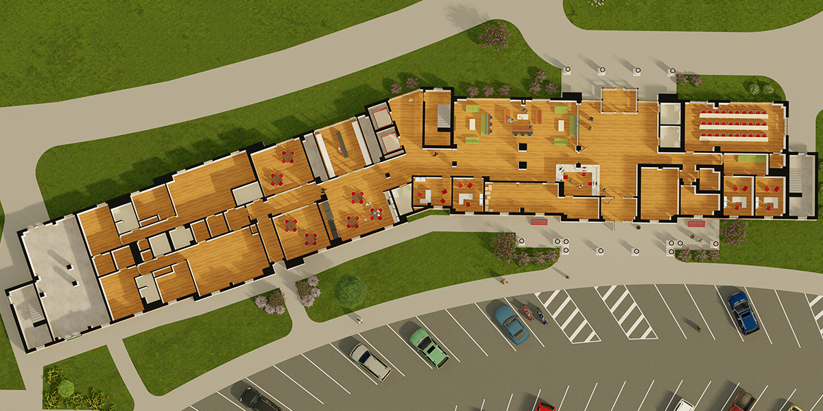 Rendering of the ground floor layout of Normal Hall.