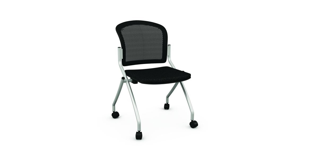 Folding chair on casters