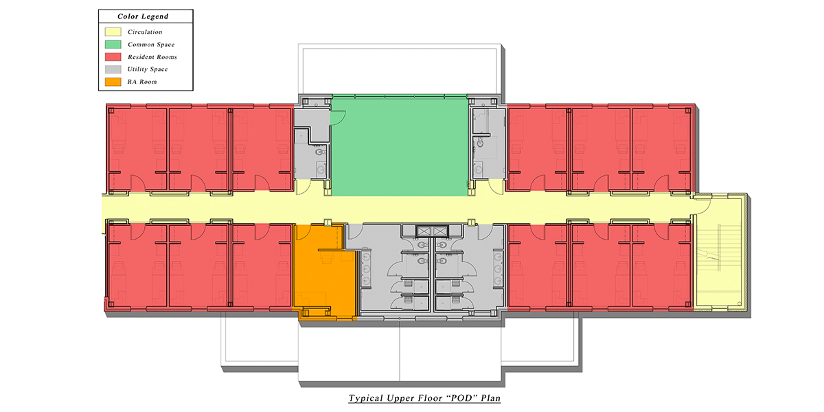 "Normal Hall upper floor ""pod"" plan, featuring the hallway, common space, resident rooms, utility space, and the RA room."