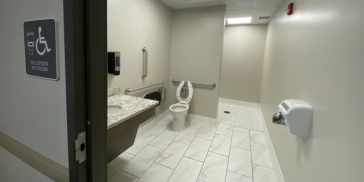 ADA accessible private bathroom in Normal Hall