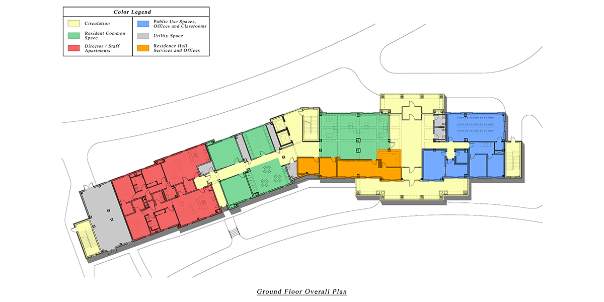 A layout key of the ground floor of Normal Hall. The ground floor features a circulation desk, resident common space, staff apartments, public use spaces, offices and classrooms, and utility space.