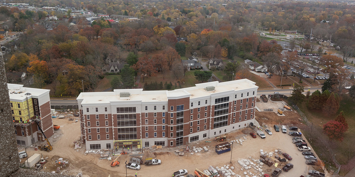 Exterior birds eye view of Normal Hall.