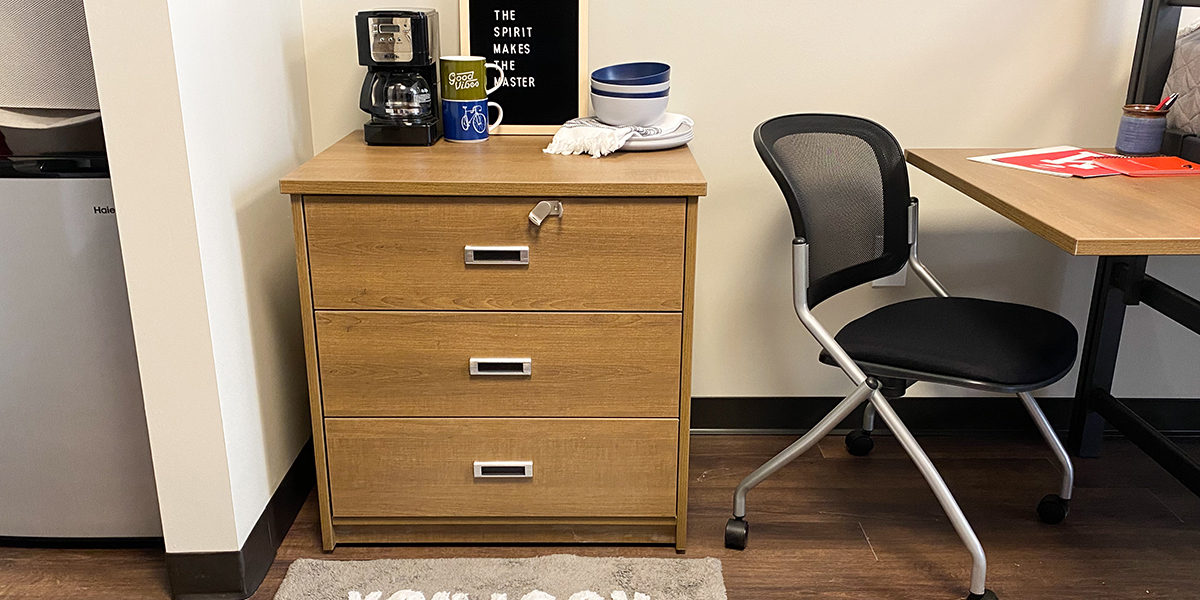 Dresser and chair on casters