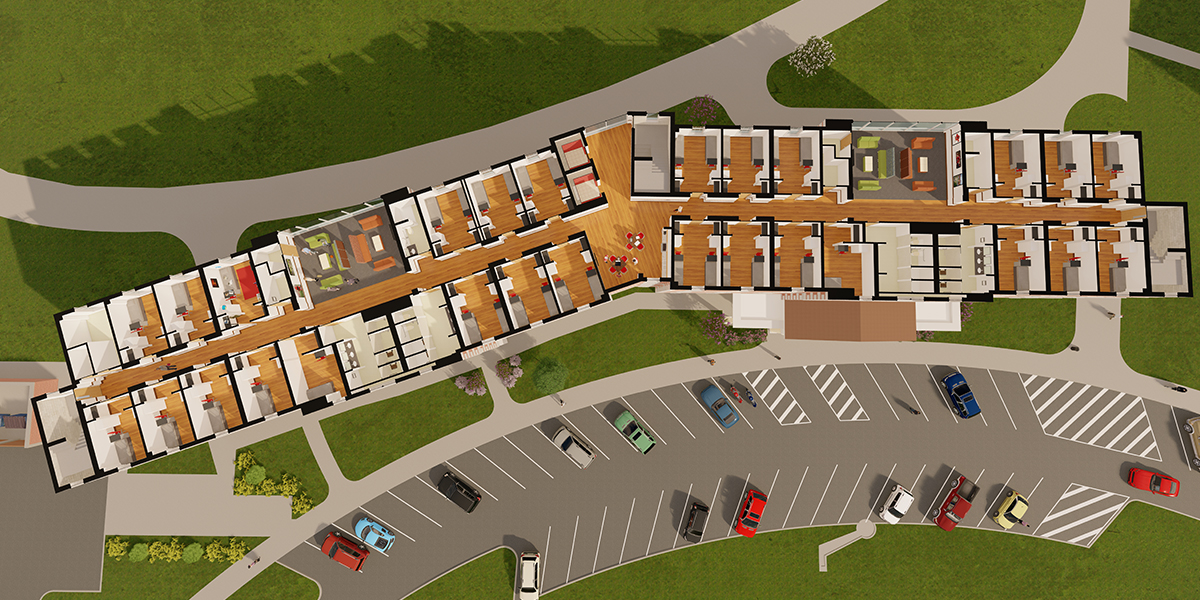 Rendering of the residential floor layout of Normal Hall.