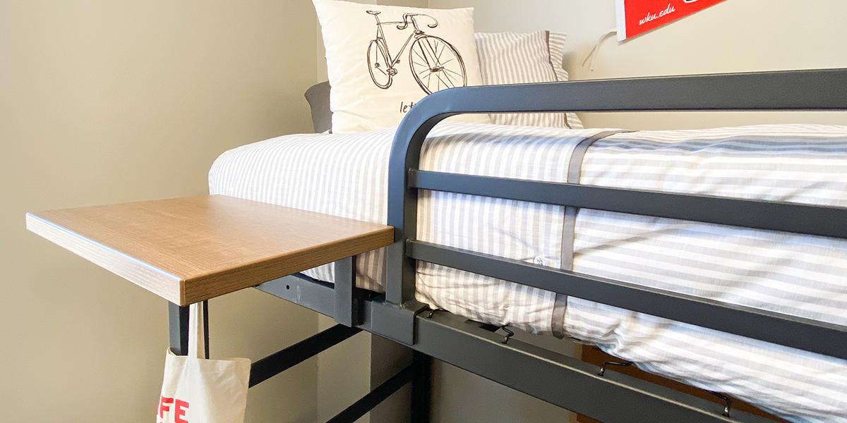 Floating shelf and bedrail on bedframe