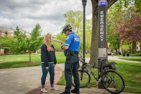 WKU Police officer on bicycle patrol responds to emergency call on campus