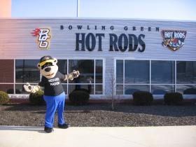 Bowling Green Hot Rods mascot Axle encourages you to reduce radon in your home!
