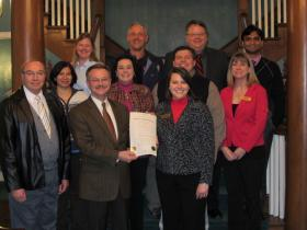 Radon Proclamation signing at City Hall.