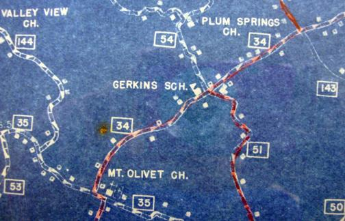 The Girkin School sat at the crossroads of what is now Highway 1320 and the Mt. Olivet/Girkin Road as shown on this Warren County 1937 Highway and Transportation map. The D.G. Beers 1877 map of Warren County also shows a school at this location. Do you have an image of this schoolhouse to share? (Courtesy of Library Special Collections, WKU)