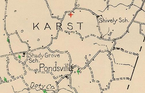Shives School, sometimes referred to as Shively, was located eighteen miles from Bowling Green. In 1924, officials recommended that the schoolhouse be painted on the outside and the road which led to the school repaired. The school's location is shown on this 1928 Warren County Oil and Gas map. Do you have an image of this schoolhouse to share? (Courtesy of Library Special Collections, WKU)