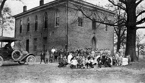 Oakland's Christian Church doubled as a schoolhouse for the local children. In 1925 the church sold the building to the county school board. (Courtesy of Library Special Collections, WKU)
