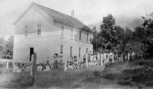 In 1907, the county constructed the new two-story frame schoolhouse shown here. (Courtesy of Library Special Collections, WKU)