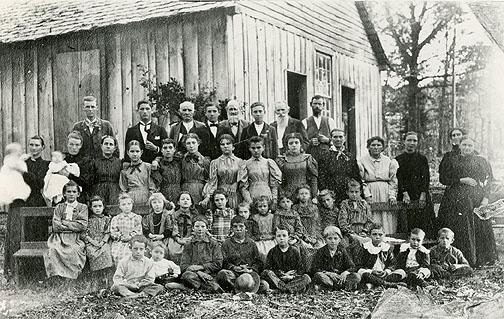 Teaches taught students in at least two Cedar Valley School located ten miles north of Bowling Green. The schoolhouse in this photograph was replaced by a frame construction built in 1892. (Courtesy of Library Special Collections, WKU)
