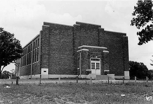 The county built Alvaton's gymnasium in 1940. The shop, located in the basement, contained metal and wood working machines, a brick forge and an oxyy-acetylene torch. (Courtesy of Library Special Collections, WKU)