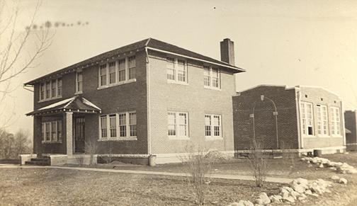 The nine-room Rockfield School and gymnasiuim was built in 1919. By 1932-33, Rockfield had become a four-year high school. An addition was added in 1935, a cafeteria and shop in 1942 and a cannery in 1943. (Courtesy of Library Special Collections, WKU)