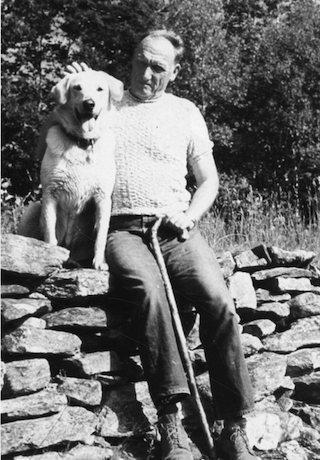 Robert Penn Warren with the family dog, 1968.