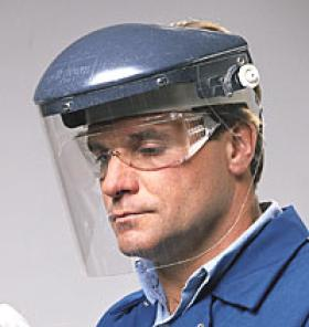 faceshield and safety glasses