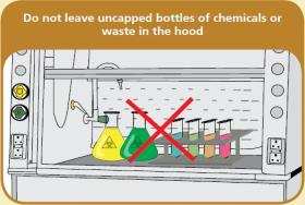Close all bottles of chemicals in hood