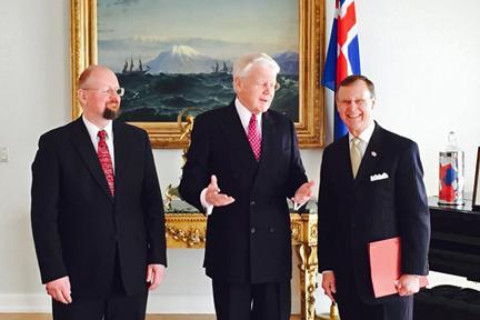 University of Akureyri Rector Eyjolfur Guomundsson, Iceland President Olafur Grimsson, and WKU President Gary A. Ransdell