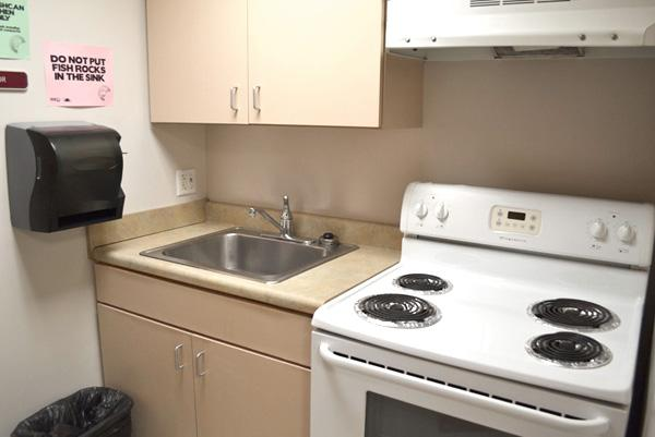 Every floor as a kitchen available to residents. Residents must provide their own pots and pans.