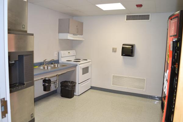 Kitchens are available on each floor for residents to use. Residents must provide their own pots and pans. Vending and ice machines are also available.