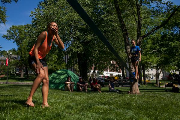 "Residents try out the slackline during the annual ""Valleypalooza"" event outside Rodes Harlin Hall"