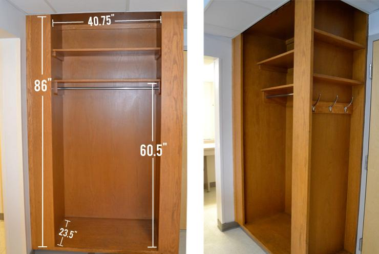 Some rooms have built in closets, others have wardrobes