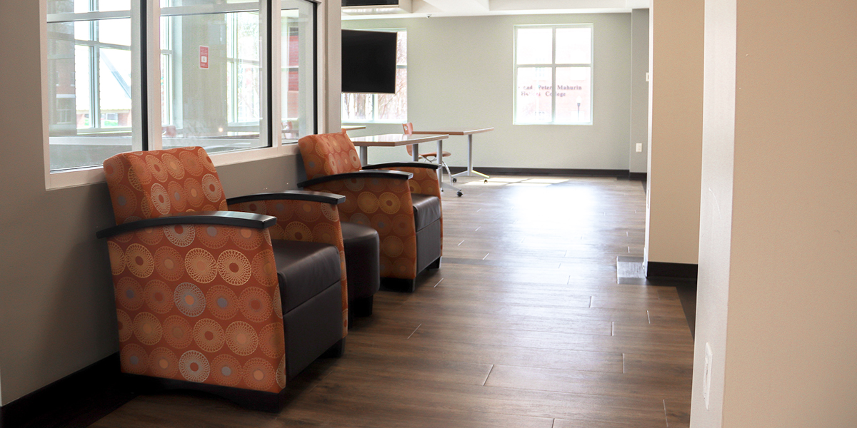 Lounge chairs in Southwest Hall common room