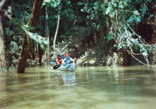 Canoe in high water