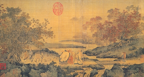 Three Chinese religious deities: Confucius, Laozi, and Buddha