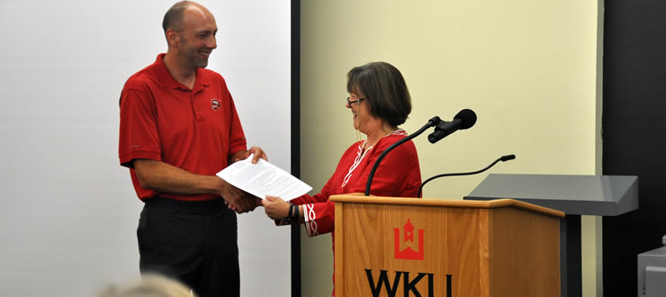 Dean Connie Foster announced Library Faculty Tony Paganelli as the inaugural research instruction award winner at the faculty kick off meeting