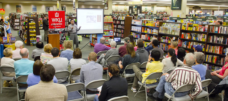 "DLPS faculty Haiwang Yuan talking about Tibetan folktales to BG/WC community at Barnes & Noble as part of the WKU Libraries' ""Far Away Places"" speaker series."